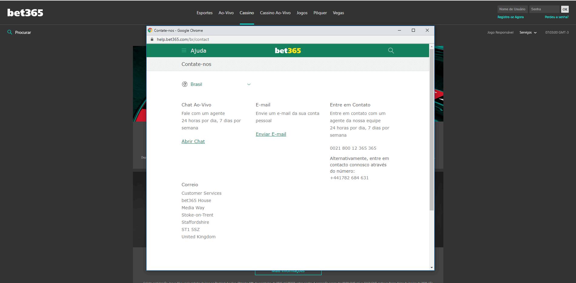 fale com a bet365 através do apoio ao cliente